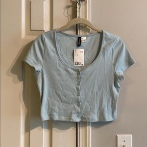baby blue button up top